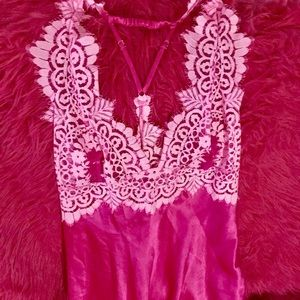 Victoria Secret Pink satin negligee lace ornate
